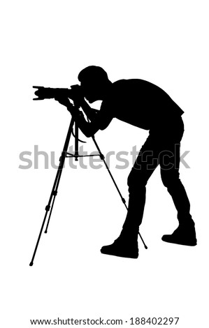 Photographer shooting. Side view silhouette of man using tripod while shooting and standing isolated on white - stock photo
