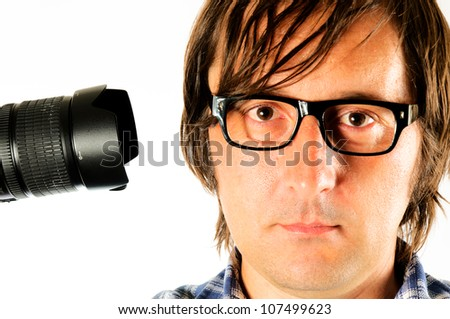 Photographer shot yourself isolated - stock photo