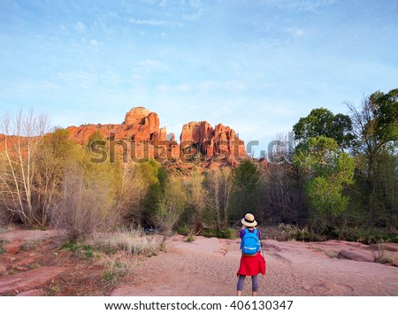 Photographer Taking a Picture of Cathedral Rock in Sedona Arizona - stock photo