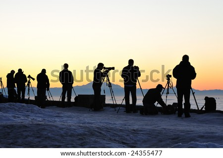Photographers are waiting for sunrise at Cypress lookout, Vancouver - stock photo