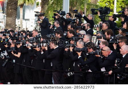 Photographers. Opening Ceremony 'La Tete Haute' Premiere. 68th Annual Cannes Film Festival at Palais des Festivals on May 13, 2015 in Cannes, France. - stock photo