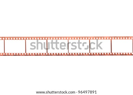 Photographic film with empty frames on white background - stock photo