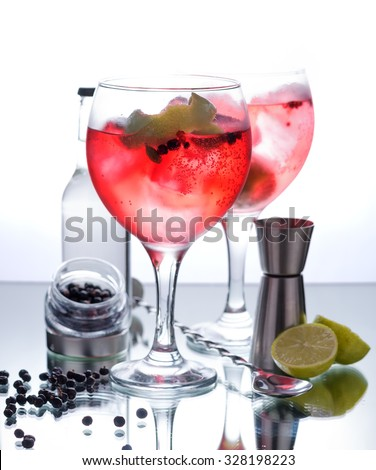 Photographs of a gin tonic with red fruits and glass isolated on white background - stock photo