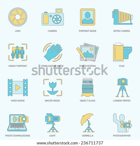 Photography equipment digital camera multimedia icons flat line isolated  illustration - stock photo