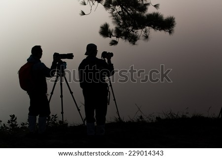 photography guests Sunset at Phu Kradueng in Loei province, Thailand  - stock photo