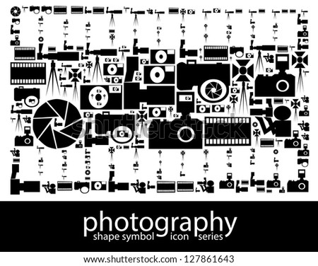 Photography icon symbols composed in the shape of a photography film - stock photo