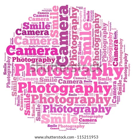 Photography info-text graphics and arrangement concept on white background (word cloud) - stock photo