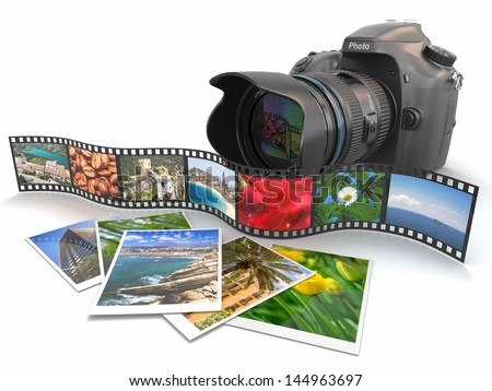 Photography. Slr camera, film and photos. 3d - stock photo