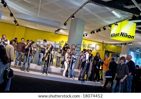 PHOTOKINA, COLOGNE - SEPTEMBER 28: Nikon at Photokina - World of Imaging, Top Event for the Trade and User, September 28, 2008 in Cologne, Germany. - stock photo