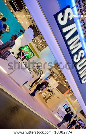 PHOTOKINA, COLOGNE - SEPTEMBER 28: Samsung at Photokina - World of Imaging, Top Event for the Trade and User, September 28, 2008 in Cologne, Germany. - stock photo