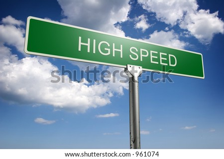 Photorealistic 3D high speed street sign - stock photo