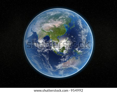 Photorealistic 3D rendering of planet earth viewed from space (Asia and Australia). - stock photo