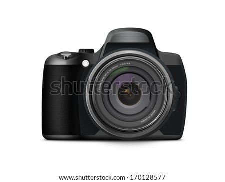 Photorealistic modern digital camera with large zoom lens. Perfect to represent photography. On a white background. - stock photo