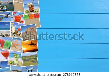 Photos from summer vacation, beach, traveling, holiday, sea, drinks and copyspace - stock photo