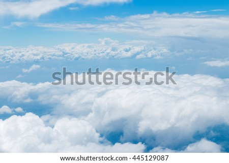 Photos from the clouds in the sky,View from window plane . - stock photo