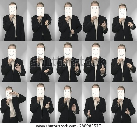 Photos of a masked business man  - stock photo