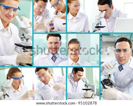 Photos of dedicated scientists composed in a collage - stock photo