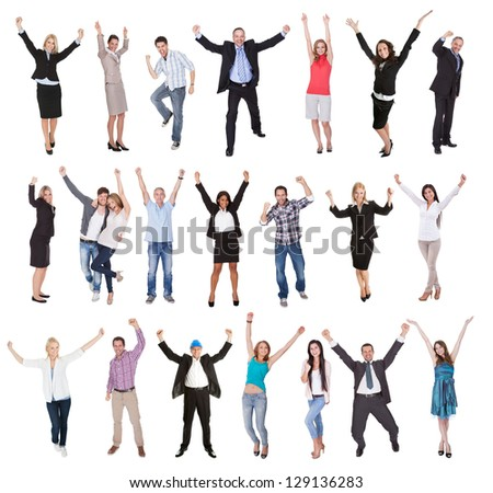 Photos of excited people cheering. Isolated on white background - stock photo