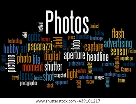 Photos, word cloud concept on black background. - stock photo