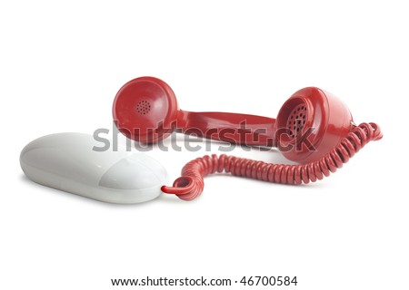 Photoshop high resolution visual to illustrate the idea of internet phone calls or VOIP, Voice over internet protocol. - stock photo