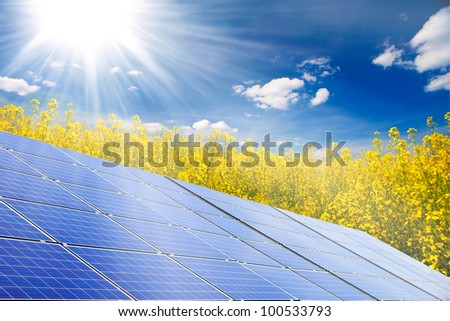 photovoltaic cells and rape field before sunlight and sky - stock photo