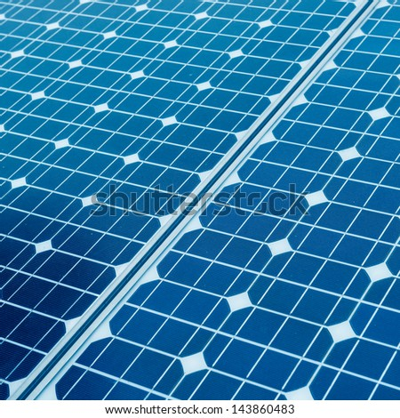 photovoltaic cells and sunlight background - stock photo