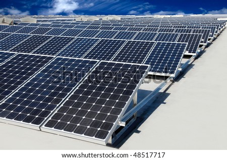 photovoltaic panel - stock photo