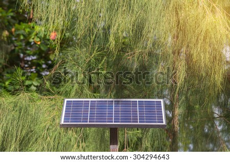 photovoltaic using renewable solar energy in park. - stock photo