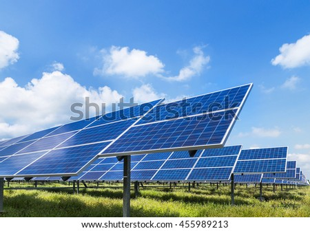 Photovoltaics  module solar panel ecological power from natural. - stock photo