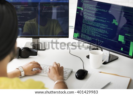 Php Programming Html Coding Cyberspace Concept - stock photo
