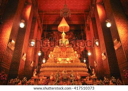 Phra Buddha Deva Patimakorn in wat pho bangkok, thailand-january 28 :Phra Buddha Deva Patimakorn in wat pho on january 28, 2015. - stock photo