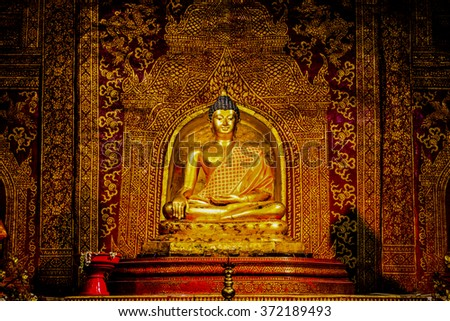 Phra Phuttha Sihing Buddha at Phra Sing Waramahavihan Temple, Thailand. - stock photo