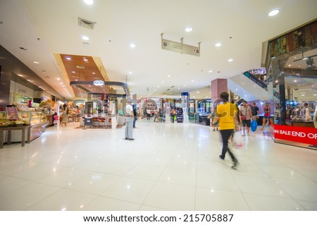 Phuket, 22 May 2014: First floor of Central Festival mall with food court and escalators at Phuket Town, Phuket province, Thailand. - stock photo