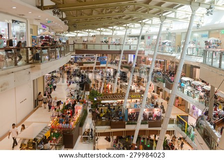 PHUKET, THAILAND - 10 JAN 2015: Looking out from the top floor, over the multiple levels of Central Festival Mall, one of the region's premier shopping destinations. - stock photo
