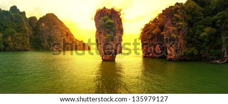 Phuket Thailand panoramic travel photography at sunset of exotic James Bond island - stock photo