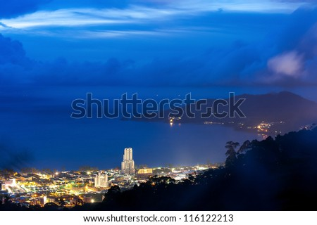 phuket viewpoint top hill see to patong beach in night time, phuket Thailand - stock photo