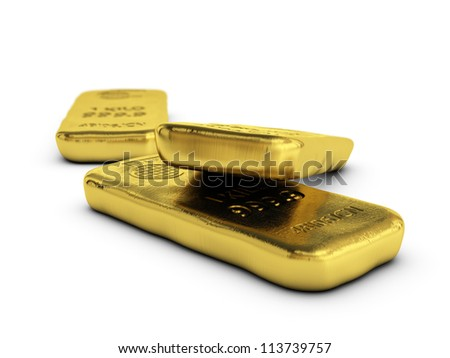 physical gold bars ingots, golden bars over white background with room for text - stock photo