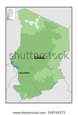 Physical map of Chad - stock photo