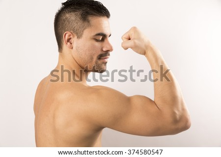 Physical preparation for martial art competition muscular beautiful man - stock photo