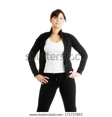 Physical training (aerobics) of beautiful young woman isolated on white background   - stock photo