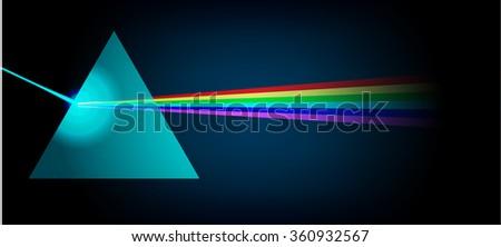 Physics Prism light spectrum illustration - stock photo