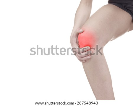 Physiotherapy treatment for  knee pain, aches and tension. It  is also used for prevention and treatment in competitive sports.  - stock photo