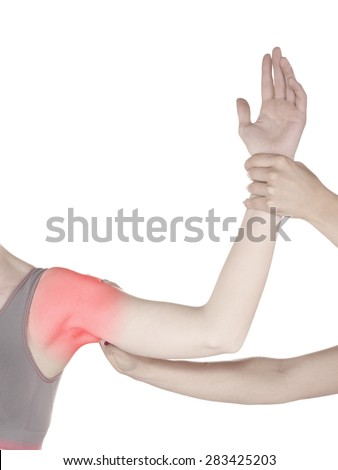 Physiotherapy treatment for shoulder pain, aches and tension. It  is also used for prevention and treatment in competitive sports.  - stock photo