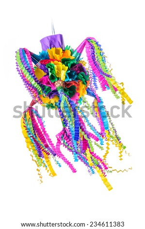 Piñata, Mexican traditional crafted toy very popular in posadas and parties, white isolated - stock photo