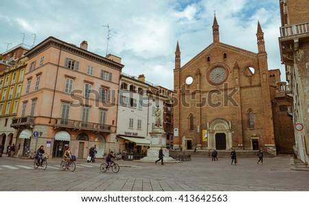 Piacenza, Italy - April 28, 2016: Church of St. Francesco. Piacenza. Emilia-Romagna. Italy. - stock photo