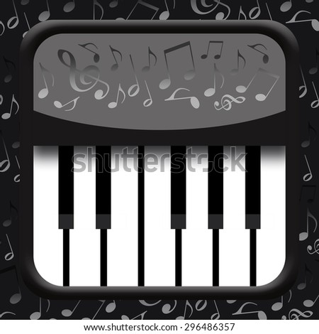 Piano and musical notes on black background - stock photo