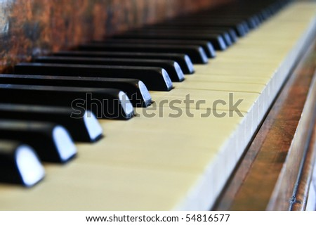 Piano buttons close up - stock photo