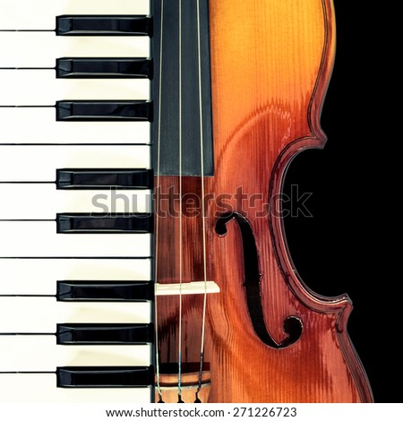 piano & classical violin, isolated on black for music concept - stock photo