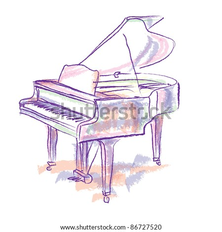 Easy Piano Drawing Piano colorful drawing - stock