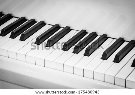 Piano Keyboard , Black and white style picture - stock photo